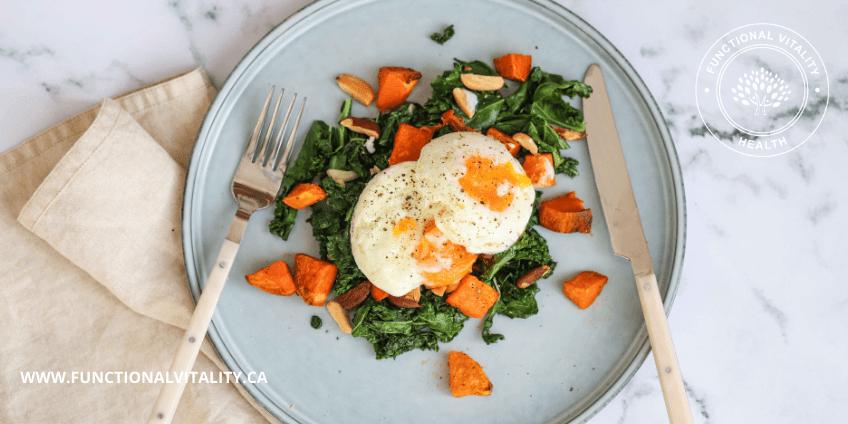 Roasted Sweet Potato, Kale and Egg Breakfast Salad
