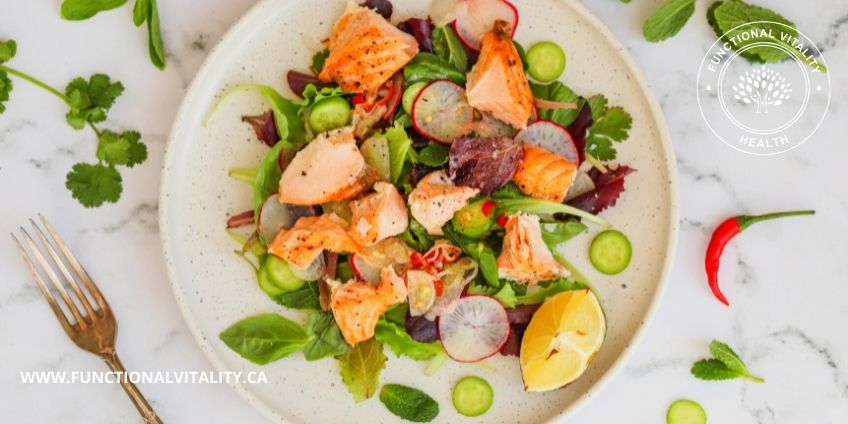 Grilled Salmon Salad With Chilies and Herbs